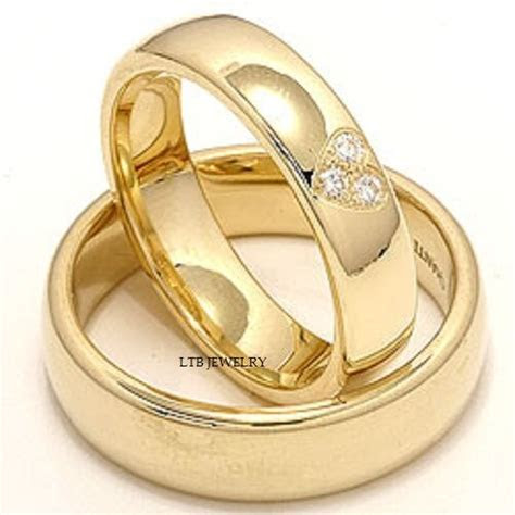 10K YELLOW GOLD MATCHING HIS & HERS WEDDING BANDS DIAMONDS