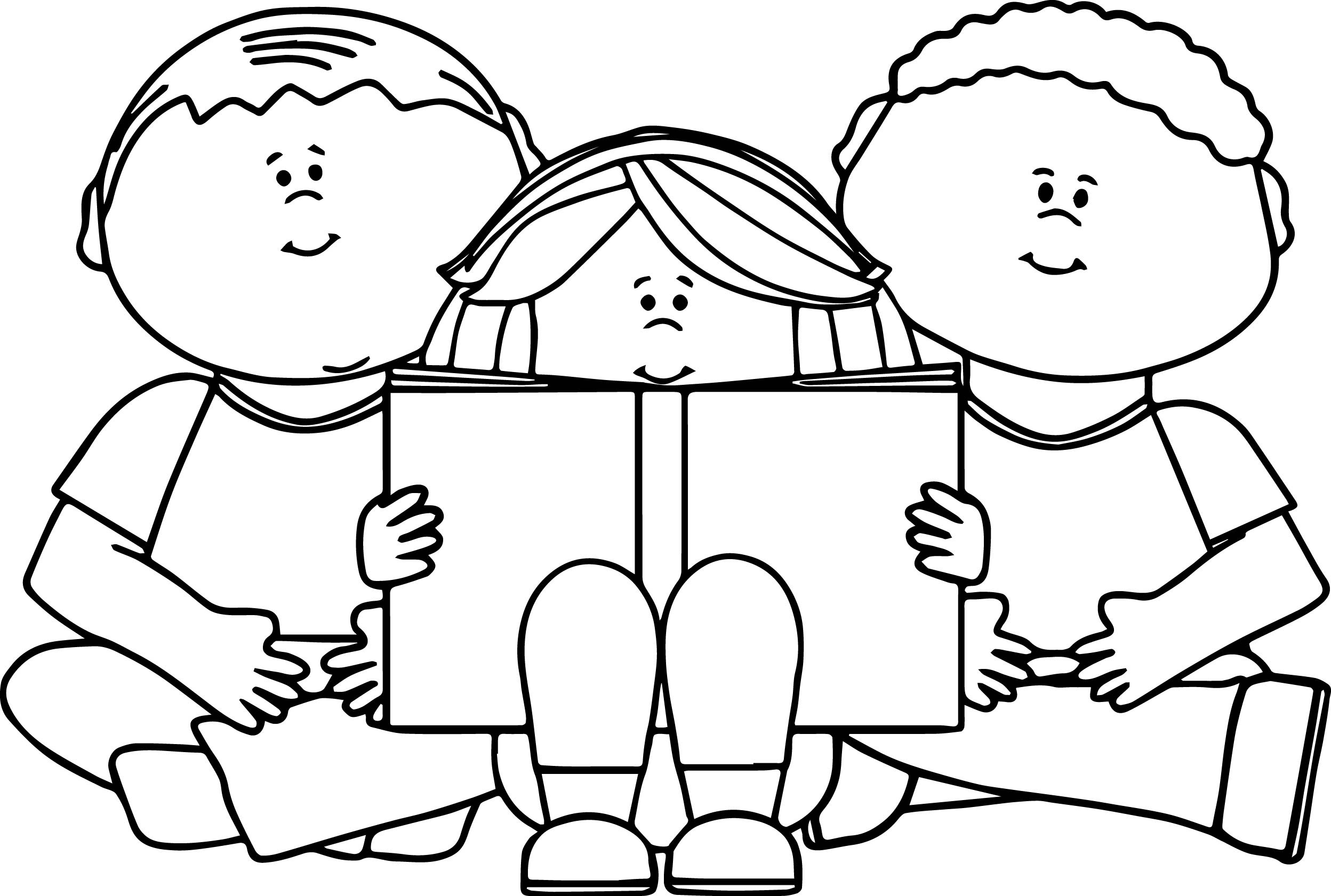 Kids Reading Book Coloring Page | Wecoloringpage.com