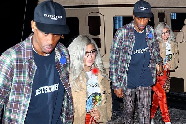 2ffca76ffdbf Kylie Jenner rocks skintight orange bottoms with silver hair for Travis  Scott's concert in NYC