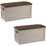Suncast Durable Outdoor 73 Gal.Portable Deck Storage Box w/Wheels (2 Pack) by VM Express