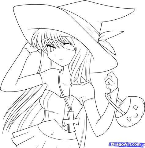 draw  anime witch anime witch girl step  step