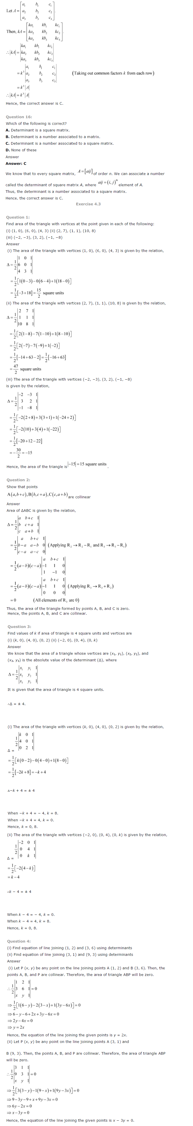 NCERT Solutions for Class 12 Maths Chapter 4 Determinants ex 4.6