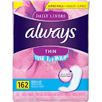 Always Thin Daily Liners, Unscented - 162 count