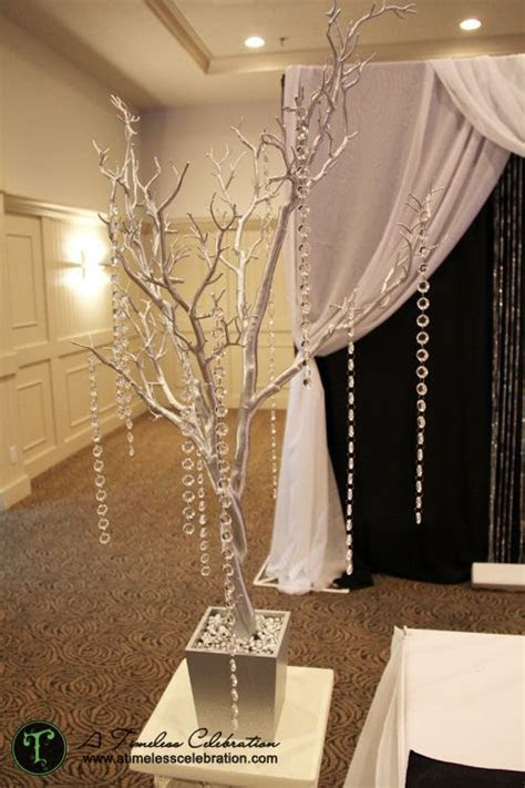 Silver tree with hanging acrylic crystals wedding