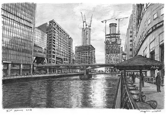 Heron Quays at Canary Wharf, London - Original drawings, prints and limited editions by Stephen Wiltshire MBE
