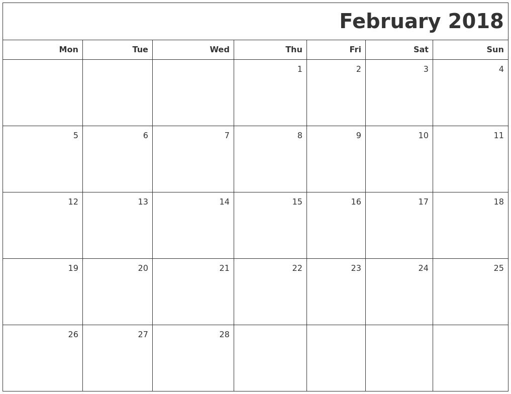 february 2018 printable blank calendar monday start