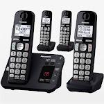 Panasonic KX-TGE434B Expandable Cordless Phone with 3 Handsets - Black