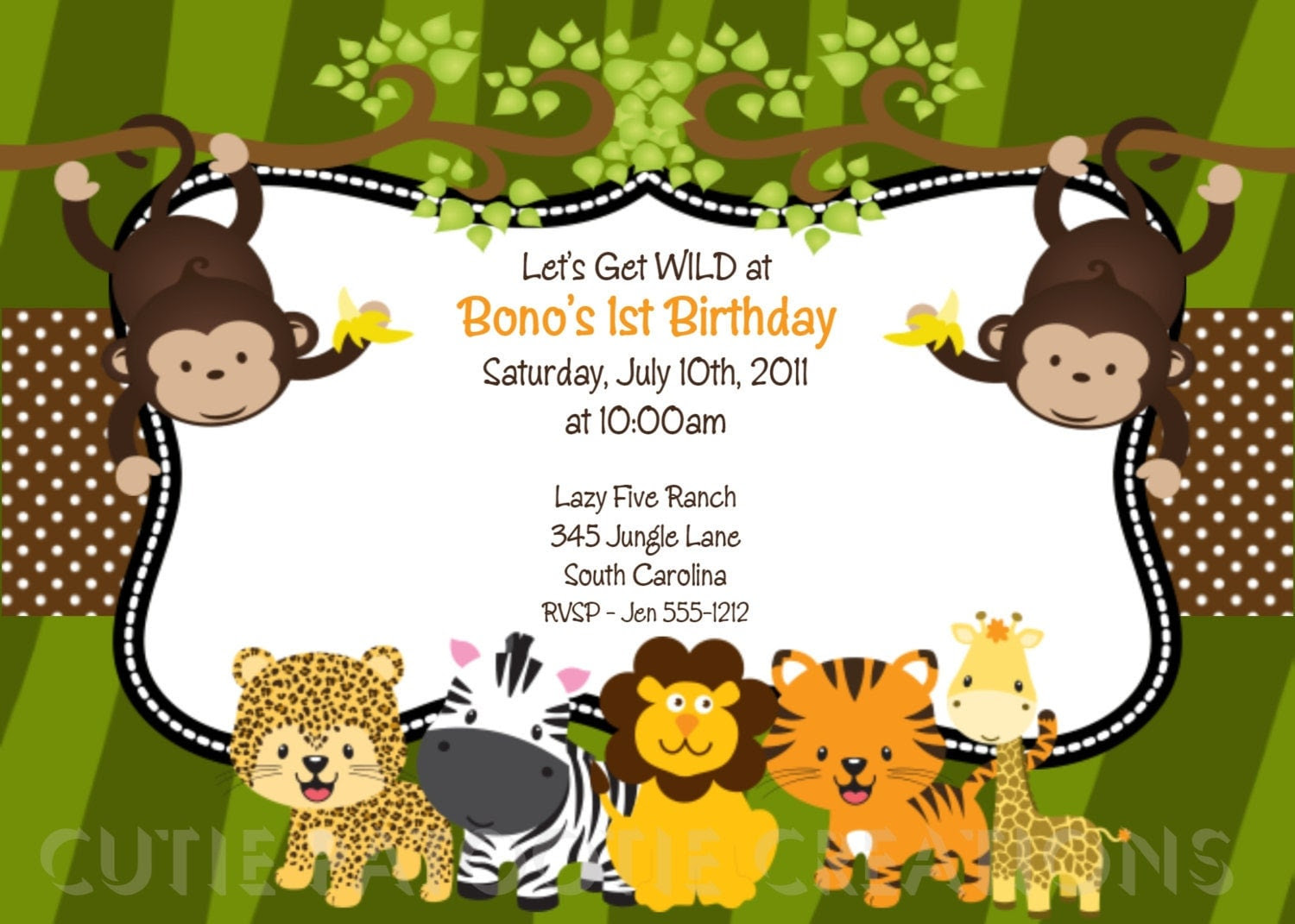 zoo animal birthday invitations