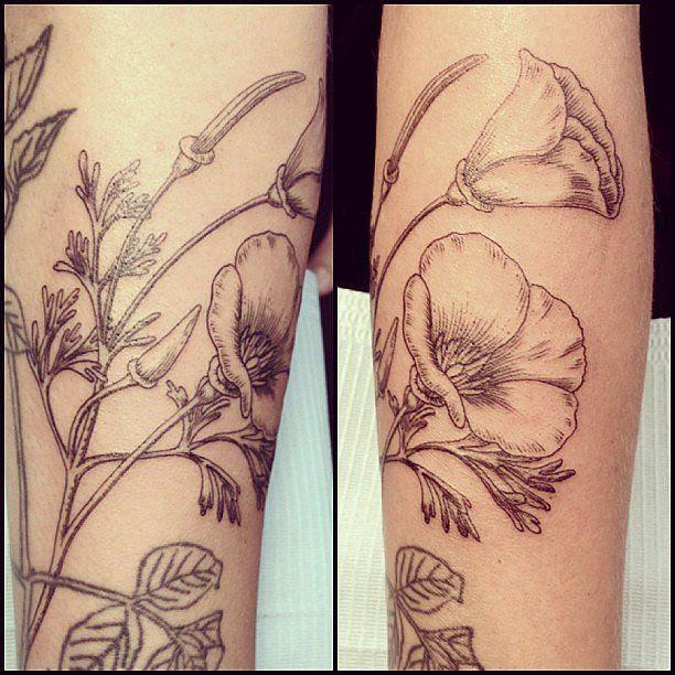 Pretty Black Flowers Los Angeles Style Tattoo Tattoomagz