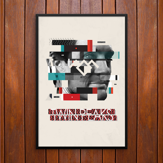 Twin Peaks Poster, Dale Cooper, Analog Glitch Poster or Framed Print