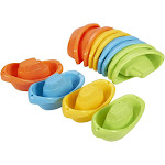 Blue Panda Bath Toy Boats - 12 Pack of Stackable Plastic Kids Tugboats for Bathtub in Orange, Green, Yellow, Blue, Ages 3 and Up