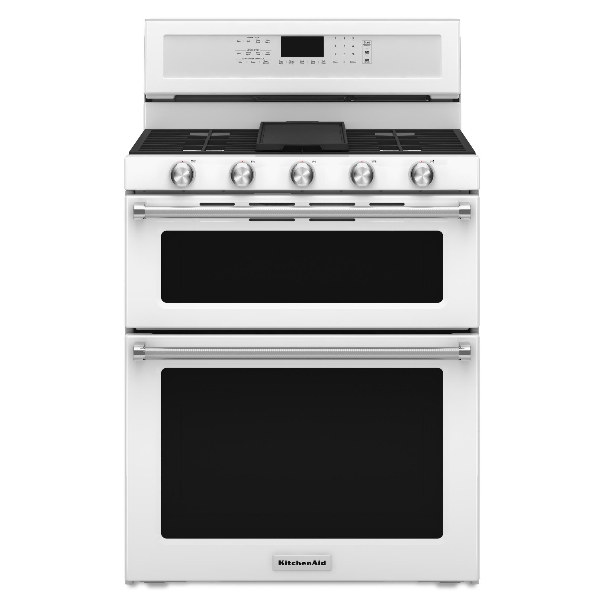 KitchenAid - KFGD500EWH - 6.0 cu. ft. 5-Burner Gas Double ...