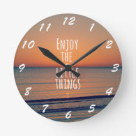 Inspirational Enjoy the Little Things Quote Round Wallclocks
