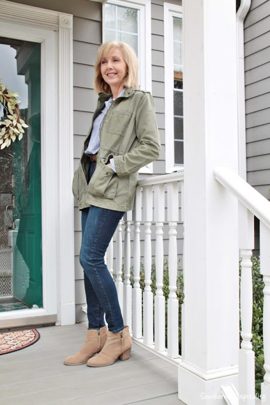 Fashion over 50: Olive Green Jacket - Southern Hospitality