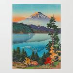 "Art Poster | Tsuchiya Koitsu Vintage Japanese Woodblock Print Fall Autumn Mount Fuji by Enshape - 18"" x 24"" - Society6"