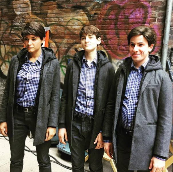 David Mazouz With His Stunt Doubles On The Set Of Gotham