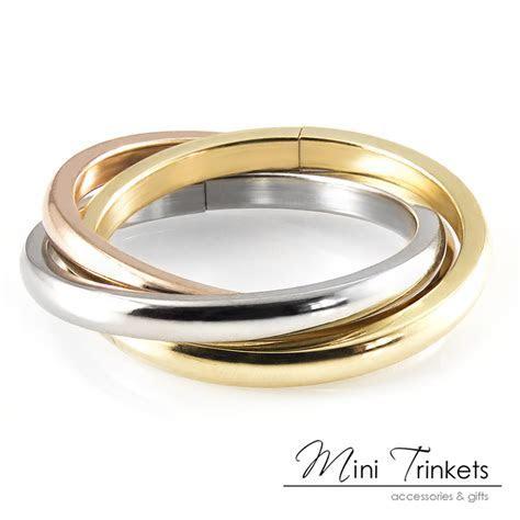 Russian Trinity Triple Wedding 3 Band Ring   18k Gold