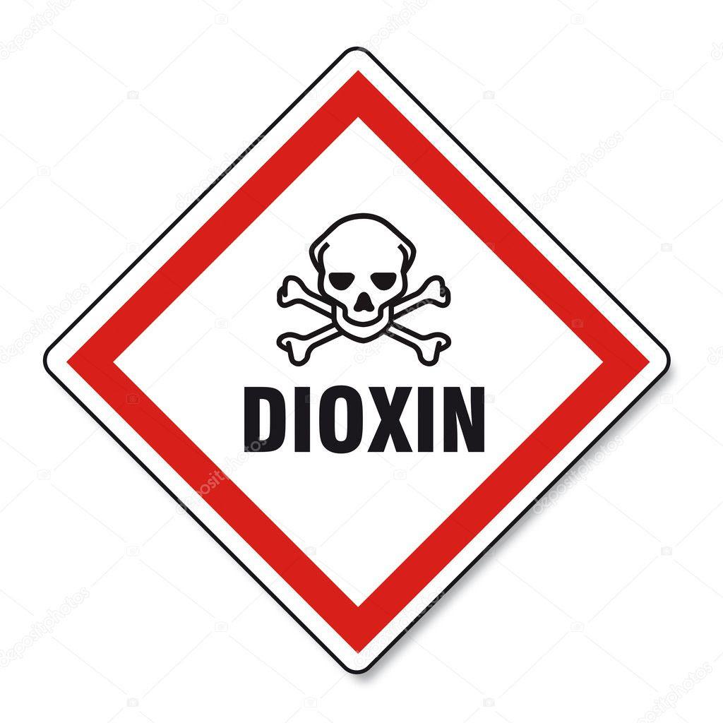 Dioxin food egg skull hand sign traffic sign on white ...