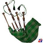 Scottish Highland Bagpipe Irish Tartan Natural Finish Silver Mounts - Irish Tartan Natural