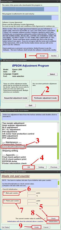 epson  resetter software   error
