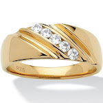 Men's .50 TCW CZ Ring in 18k Gold over Silver