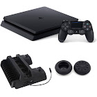 Sony PlayStation 4 Slim Gaming Console 1 TB Core-Jet Black with Cooling Dock Bundle