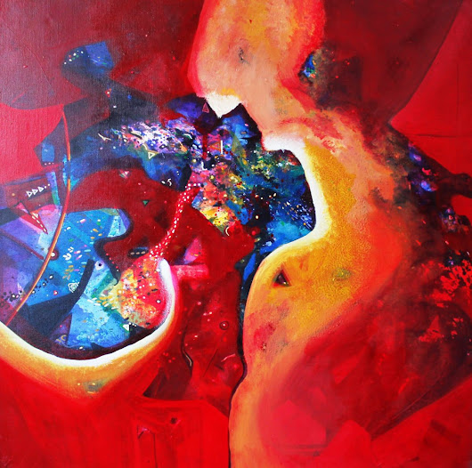 red harmony (2015) Acrylic painting by sanjay punekar