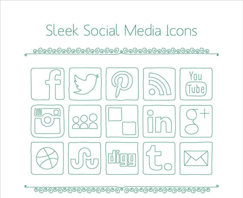 Simple Sleek Social Media Icons