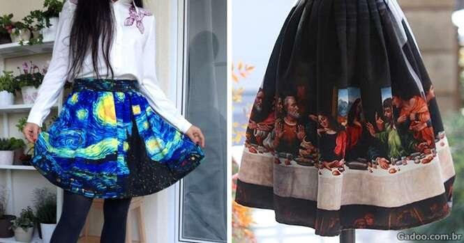 Empresa coloca pinturas famosas em saias e vestidos
