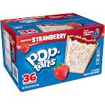 Pop Tarts Toaster Pastries, Frosted, Strawberry - 36 pack, 22 oz pastries