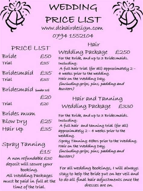 Wedding Price List This is based on us coming out to your