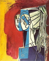 Pablo Picasso. Portrait of Sylvette David 25 on red, 1954