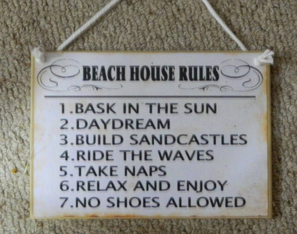 Country Printed Quality Wooden Sign & Hanger *Beach House ...