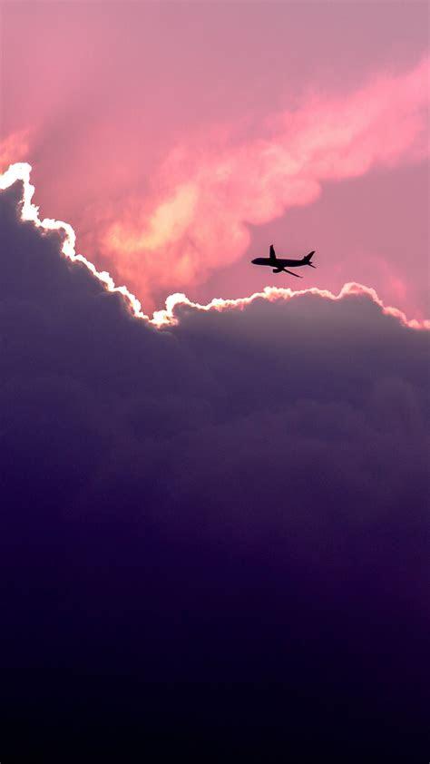 plane  sunset clouds iphone  wallpaper wallpaper