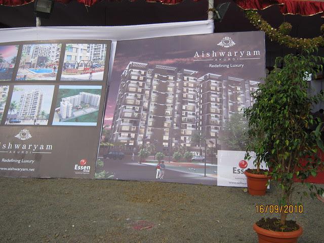Display boards at Aishwaryam Courtyard 1 BHK 2 BHK 3 BHK Flats on Akurdi Chikhali Road