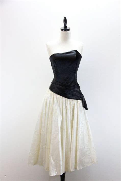Vintage 1980s PROM strapless Formal dressy Dress WEDDING