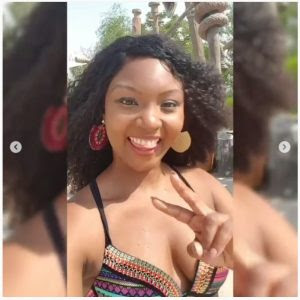 Actress Osas Ighodaro Hits Dubai Beach In Bikini (Photos)