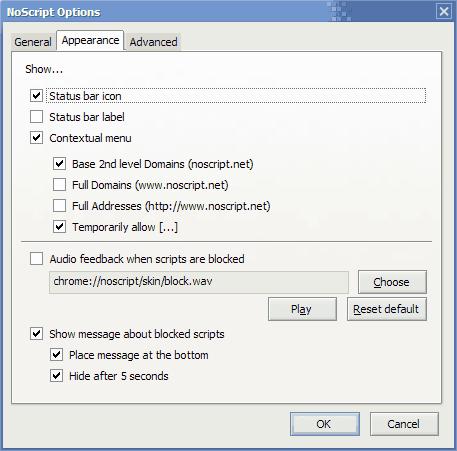 NoScript JavaScript appearance options