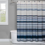 Saturday Knight Ltd Cubes Stripe Collection High Quality Stylish Easily Fit Bath Accessory Set - 70x72 Blue