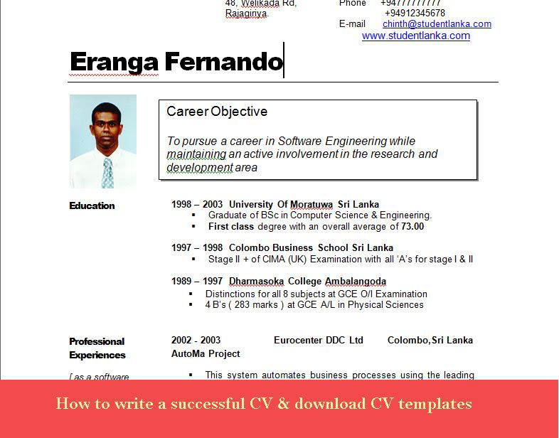 curriculum vitae  curriculum vitae samples in sri lanka