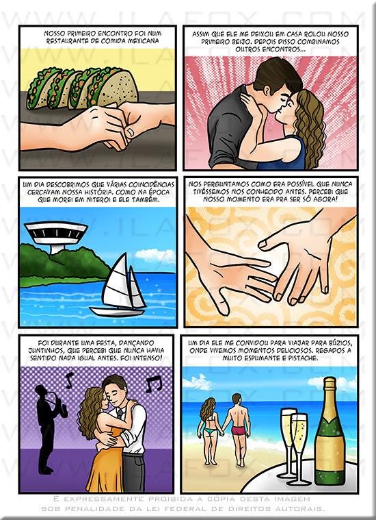 convite quadrinhos, convite original, história casal, história para casamento, quadrinhos contando historia de casal, by ila fox