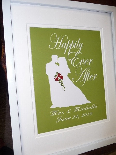 Custom Print HAPPILY EVER AFTER Wedding Anniversary Couple Bride and Groom Kiss Bouquet Names Date