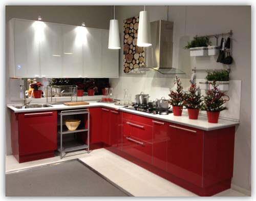 Red and White L-Shape Kitchen Cabinet Kuala Lumpur