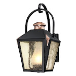 1 Light Valley Forge Wall Lantern, Matte Black Finish with Copper Accents-Single