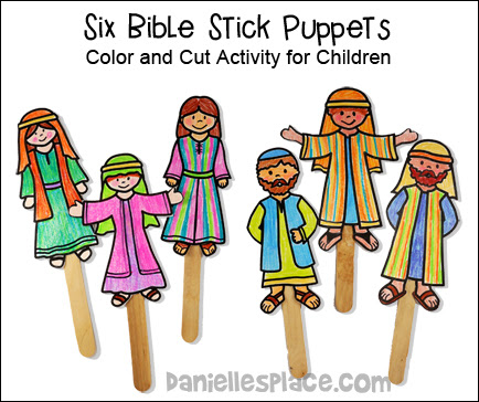 color your own stick puppets