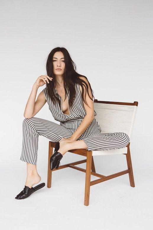 Le Fashion Blog Jenni Kayne Resort 2016 Striped Top Matching Pants Jumpsuit Mule Flats Via Style Com
