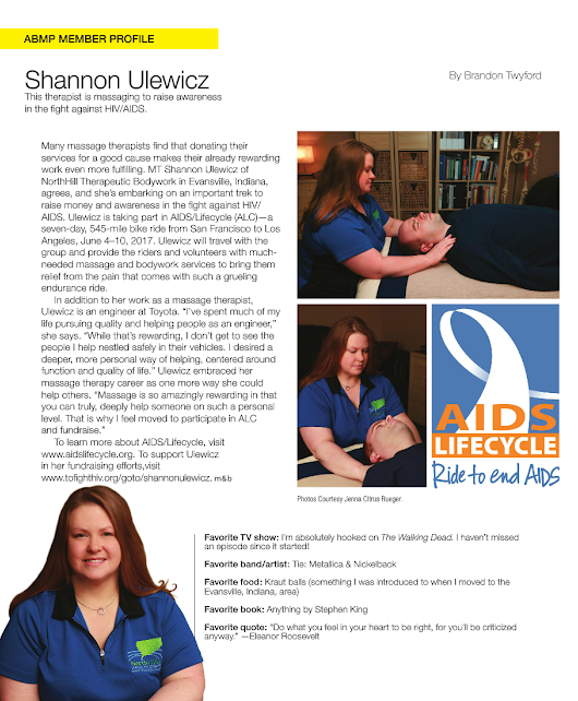 Massage and Bodywork March/April 2017 Member Profile Shannon Ulewicz Images