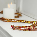 Red and Gold Sparkling Bead and Glitter Garland, 5' long x 3/4'' wide, Red/Burgundy, Craft Supplies