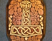 Eagle-Headed Thor's Hammer / Mjollnir with Oak Leaves wood plaque