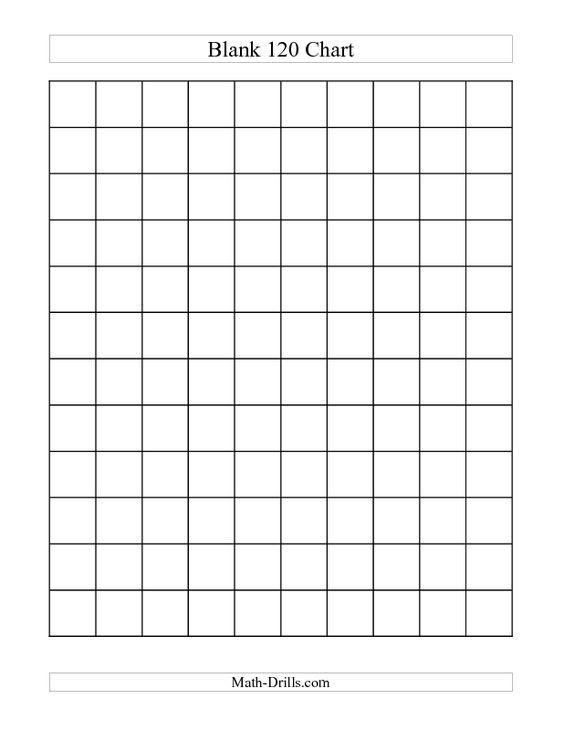 Number Worksheet -- Blank 120 Chart (C) | School Stuff - Math ...